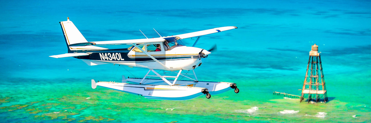Keys Seaplanes flying over Key West