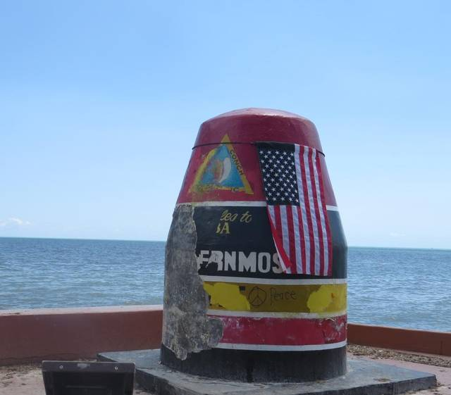 The famous Key West southernmost buoy survived the storm with some scars after Hurricane Irma