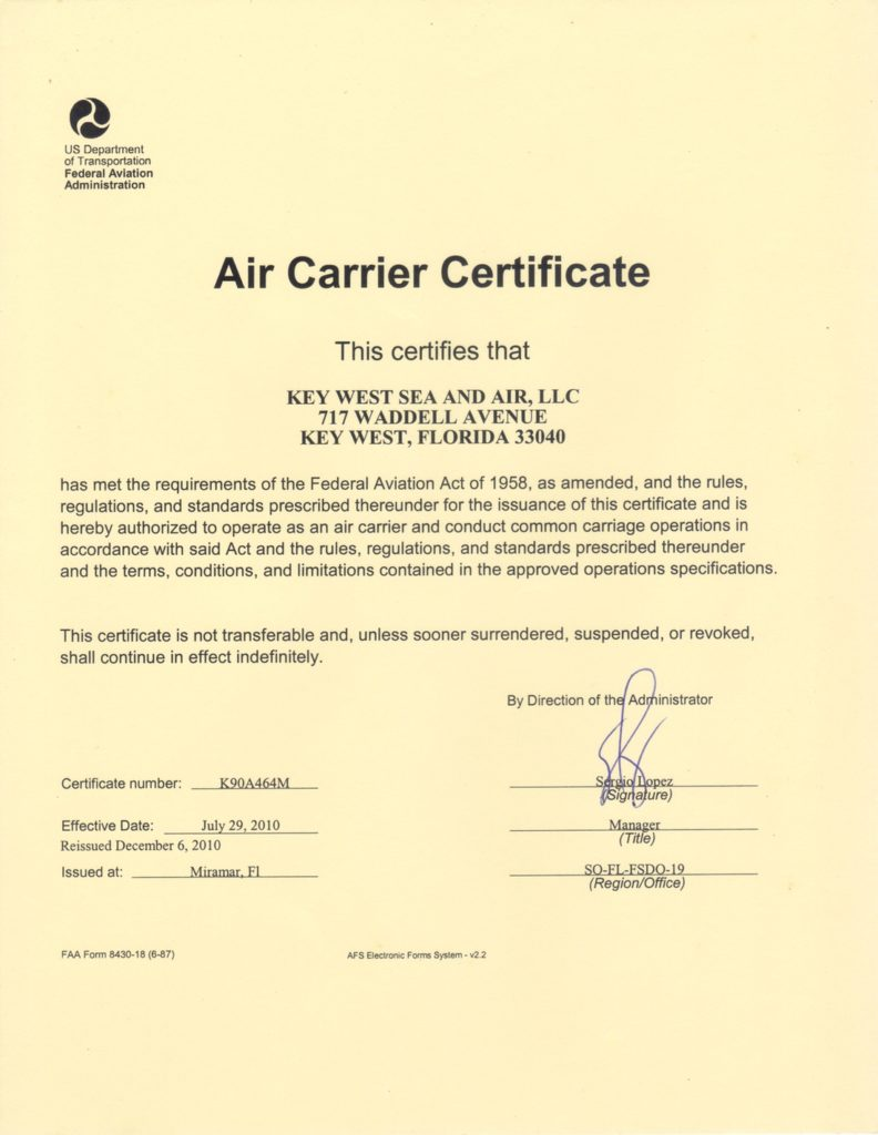 Air Carrier Certificate